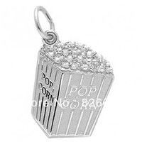 Cheap free shipping hot selling pop corn charm rhodium and gold plated 100pcs 1lot