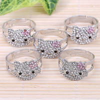 ab party - Bulk Price Pink White AB Hello Kitty Cat Rhinestone Crystal Bling Cluster Silver Fashion Jewelry Ring Bow Adjustable Best Gift
