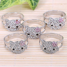 Bulk Price Pink White AB Hello*Kitty Cat Rhinestone Crystal Bling Cluster Silver Fashion Jewelry Ring Bow Adjustable Best Gift