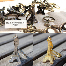 Wholesale couple lovers key ring advertising gift keychain Alloy Retro Eiffel Tower key chain tower French france souvenir paris keyring keyfob cut