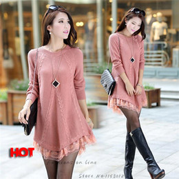 Wholesale Hot New Fall Loose Knitted Casual Brief Sweaters Dress With Lace Decoration Outwear Candy Colors Free Size