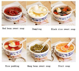 Wholesale Ultra realistic sweet soup and bowl key ring key chain HangingSOUP BOWL KEYCHAIN BEAN Chinese Asian Food Gag Gift Fun
