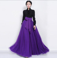 Cheap 1pc 2014 Summer New Tulle Long Elegant Chiffon High waist Solid Skirt Ladies Full Ball Gown Party Skirt 312856-H
