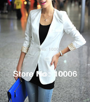 Cheap Newest Design Woman Fashion Blazers Half Sleeve Tailored Slim Suit Coat OL Top Size S M L XL Free Shipping 25185010