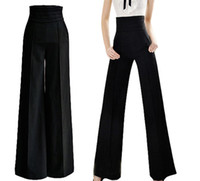 Cheap Womens Vintage Career OL Loose Slim High Waist Flare Wide Leg Long Pants Palazzo Trousers