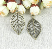 Wholesale 44 MM Vintage leaf charm pendant parts DIY jewelry antique bronze filigree brass filigree findings metal filigree