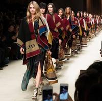 Wholesale 2014 Autumn Runway Luxury Brand B Elegant Cashmere Wool Check Blanket Wraps Shawls Poncho Olivia Palermo Cara Delevingne for Women