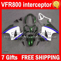 Wholesale 7gifts For HONDA Green white VFR800 interceptor Q215 VFR RR Blue green VFR800RR Fairing