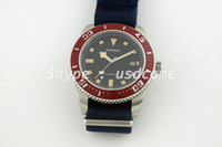 Cheap 43mm Parnis 21 Jewels Japan Miyota 821A Movement Red Bezel Automatic Watch