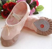 al por mayor jazz rosa-mujeres para niños de baile zapatos de lona cómodos respira resistente al desgaste del zapato de ballet zapatos de baile Girs Calzado libremente antideslizantes rojo rosa