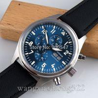 Wholesale Details about mm Parnis blue dial daydate WATCH Full chronograph quartz leather strap
