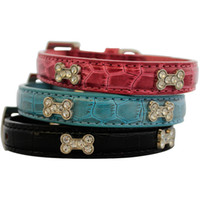 alligator dog collar - Alligator Leather Bone Rhinestone Collars For Small Dogs New Pets Products