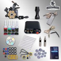Cheap Wholesale-Beginner Complete Tattoo Kit Machine Guns Inks Needles grips tips Tattoo Power Supply D1025GD-2
