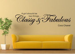 Wholesale Wall Sticker quot A Girl Should be Classy Fabulous Coco Chanel quot Vinyl Wall Art