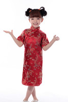 baby clothing fabric - cheongsam for cm height Children Chinese Traditional baby Clothing Dragon Tang suit Cheongsam style Silk fabrics dress