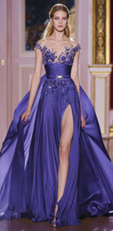 Wholesale 2015 zuhair murad A Line Purple Evening Gown Sheer Bateau Neck Capped Sleeves Stunning Beaded Sequined Prom Formal Occasion Dresses