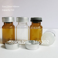 Wholesale DHL ml Clear Amber Cosmetic Glass Vials Flip Off Cap cc Injection Glass Bottle