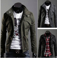 Wholesale NEW men brand Men s Coat Trench Coat Jacket Overcoat Military Casual Slim Fit Designer Pocket men tops