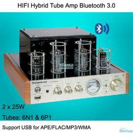 Wholesale 2X25W HIFI Hybrid Tube Amplifier Preamp N1 Driving P1 Wireless Bluetooth3 USB Headphone Amp Audio APE FLAC WMA MP3 Audio Power Amp