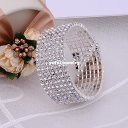 Gorgeous 7Rows CZ Rhinestone Crystal Silver Wrist Bracelet Vintage Wedding Bridal Bangle Bracelet Cuff Jewelry