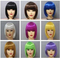 Wholesale EMS Christmas Halloween Wig Dance Party wig Cute BoBo Short Hair Wigs Cosplay wig Lovey for girls and women Mixed color