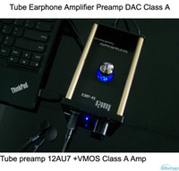 Wholesale Tube Earphone Amplifier Class A AU7 VMOS FET Tube Preamp USB Decoding CM108 TDA1305T DAC Amp Decoder PC HIFI