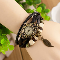 Wholesale Retro Quartz Fashion Weave Wrap Around Leather Bracelet Bangle Womens Tree Leaf Women Girls Wrist Watch