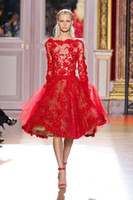 Cheap 2015 zuhair murad Hot Red Evening Dresses Bateau Neck Long Sleeves Applique Beaded Tulle Back Zipper Knee Length Celebrity Gown