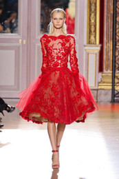 Wholesale 2015 zuhair murad Hot Red Evening Dresses Bateau Neck Long Sleeves Applique Beaded Tulle Back Zipper Knee Length Celebrity Gown