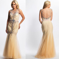 Wholesale Payty dress Custom Made Cheap Long party dresses Crystal Formal Gown Sexy Beaded woman party dress Floor Length Mermaid Evening Dresses