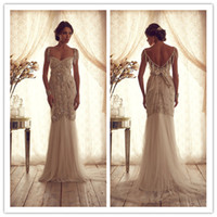 Wholesale 2014 Handmade Retro Wedding Gown Sexy Backless Tulle Pearl Sheath Court Train Inspired by Anna Campbell Bridal Bridesmaid Evening Dresses