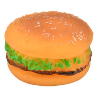 Wholesale Soft Rubber Hamburger Shape Pet Squeaky Squeeze Toy for Dogs SKU H828201