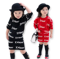 Wholesale 2014 Autumn Children Girl s Letters Print Knitting Packhip A line Skirt Outfits Top Skirt Chic And Easy Fashion Set Sets