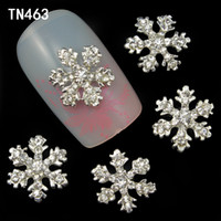 Wholesale 20pcs Alloy D Nail Art Stickers White Snowflakes Christmas Glitter Nail Gel Tools DIY Rhinestone Decoration TN463