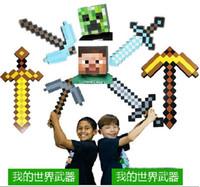 Wholesale Minecraft Foam Diamond Sword and Pickaxe Combo Set weapons EVA axe Foam diamond pick Gold Grey Blue A001