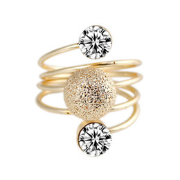 Wholesale 2014 New Arrival mm Personable Double Artificial Diamond Frosted Sphere Spiral Metal Rings Gold