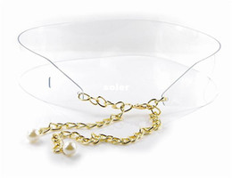 Wholesale Plastic Transparent Metal Chain Pearl Belt Bling Gold transparent Plate Wide Obi Band for Women Female Accessories Dress QW210