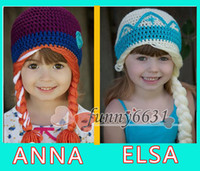 Wholesale 8 off high quality HOT Crochet hats FROZEN ELSA ANNA CHRISTMAS Anna elsa style knitting Crochet hats Comfortable Soft latest fashion