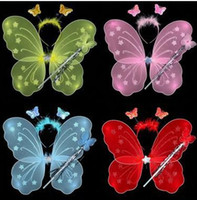 Wholesale 6 colors kid girls wings costume fairy butterfly wing set wand and headband colors assorted LJJA829