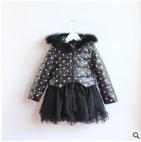 Cheap 2014 Girls Winter Fashion Hooded Coat Children's New Style Polka Dot Patchwork Cotton-padded Coat