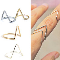Cheap Fashion Jewelry V-Shape Gold Silver Twisted Plain Thin Band Ring Arrow Charm Finger Knuckle Midi Rings XMPJ050