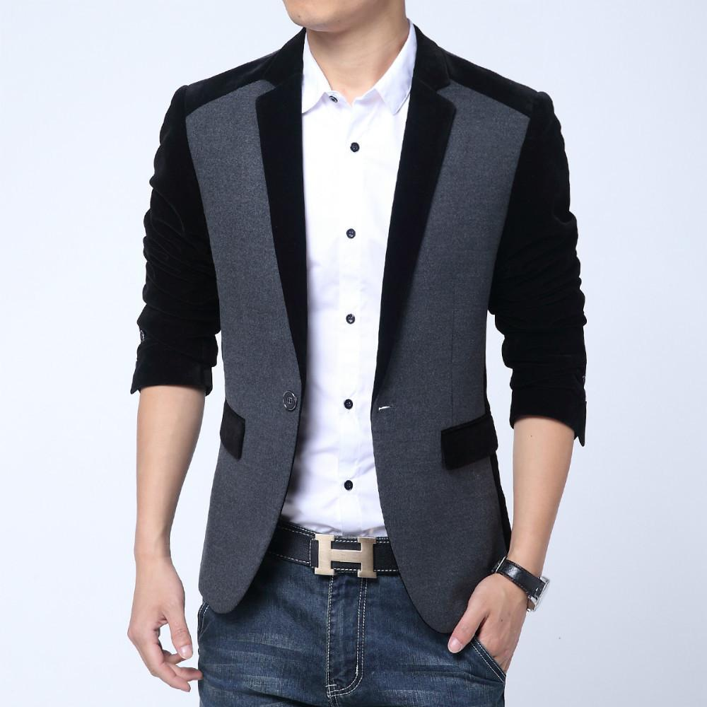 Mens jacket fleece - Autumn Men Casual Fleece Cotton Korean Blazer Men Slim Fit Jacket One Button Blazer Terno Masculino High Quality Suit Coat Men One Button Blazers Dress