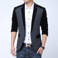 Wholesale Autumn Men Casual Fleece Cotton Korean Blazer Men Slim Fit Jacket One Button Blazer Terno Masculino High Quality Suit Coat Men