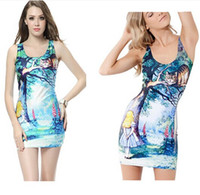 Casual Dresses alice in wonderland party - Cheshire Cat Alice in wonderland Printed Women Girl Female New Summer Short Sexy Bodycon Party Club Beach Tank Vest Dress dorp shipping