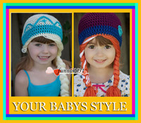 Wholesale HOT Crochet hats New Crochet Elsa Anna Hat Frozen winter Hat for Kids Girl Size for T FREESHIPPING