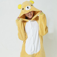 al por mayor pijama amarillo las mujeres-Lovely Yellow Bear Jumpsuits Nupcial Pijamas Pajamas Cosplay Animal Traje En Stock Venta al por mayor de hombres calientes y mujeres Inicio Sleeping Wear