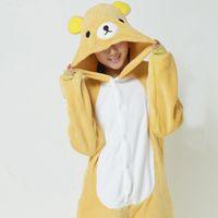 achat en gros de pyjamas jaunes femmes-Lovely Yellow Bear Jumpsuits Nuptiale Sous-vêtements Pajamas Cosplay Costume Animal En Stock Vente en gros Hommes Chauds et Femmes Accueil Sleeping Wear