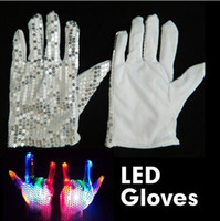 Wholesale New arrival modes flashing Led gloves show fingers colorful lighting for Christmas Party DHL ship