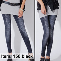 Leggings stretch jeans - New arrived Fashion faux jeans pants false front hole seamless leggings High quality Stretch pants