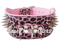 Wholesale Spiked Dog Collar Leather pink Studded Dog Collars Spikes Pit Bull quot leopard